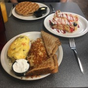 Omelette and waffle